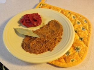Spices and tomato paste