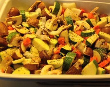 Vegetables ready for the oven