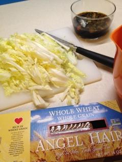 Pasta, cabbage, sauce