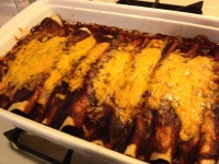 Rich brown sauce and melted cheddar