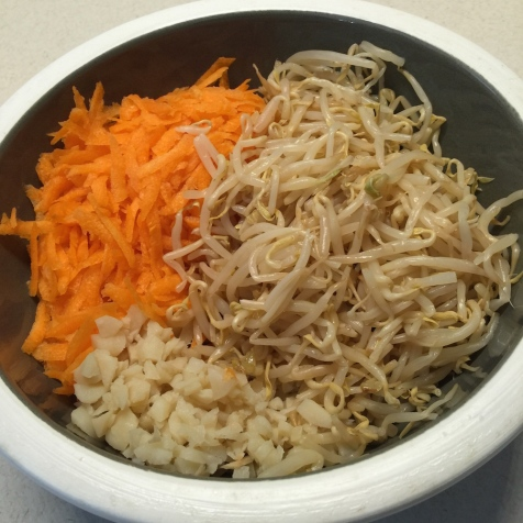 Carrots, water chestnuts, bean sprouts