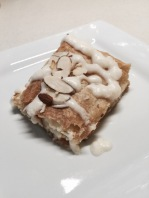 With icing and almonds