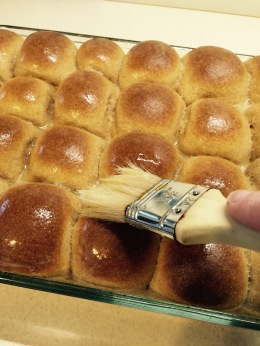 Baked, brushed with butter