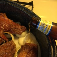 Add beer to pan bottom