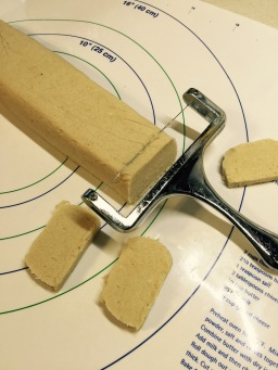 Cutting cookies with wire cutter