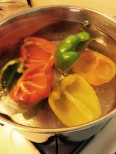 Par-boil peppers 3-5 minutes