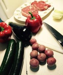 Steaks and veggies