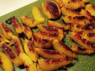 Slice cooked peaches