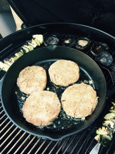 Browning patties on grill