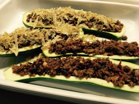 Fill and top seeded zucchini