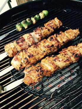 Grilling the kabobs over direct heat