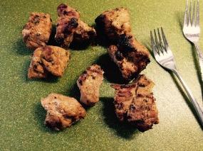 Leftover pork kabobs