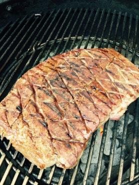 Grilling the dry rub steak