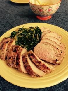 Pork tenderloin and sautéed spinach