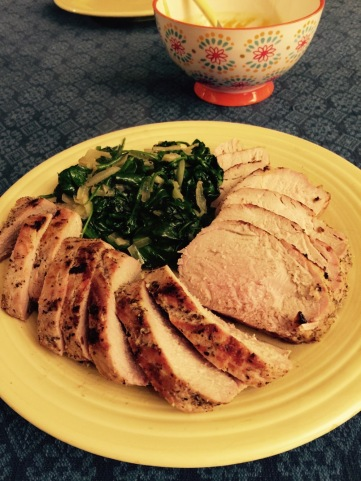 Pork tenderloin and sautéed spinach