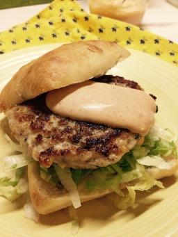 Chicken burger on ciabatta
