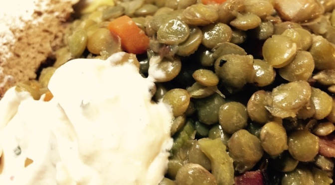 Bacony Lentils with Adobo Sour Cream