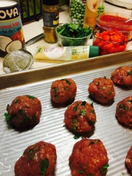 Parsley-studded meatballs