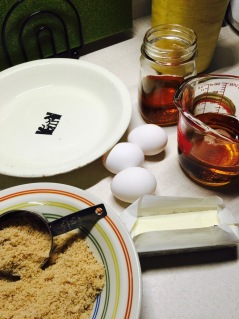 Syrup, butter, brown sugar, and eggs