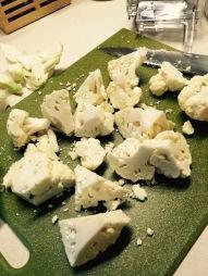 Cut up cauliflower