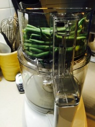 Stack beans lengthwise in food processor chute