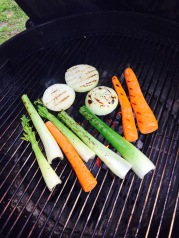 Grill vegetables to go in sauce