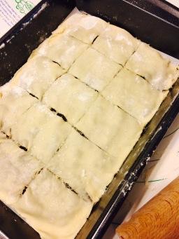 Scoring on top dough layer
