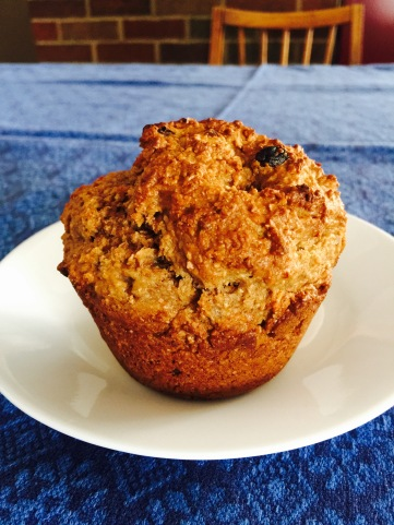 A high, rustic muffin
