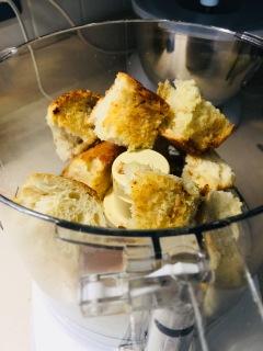 torn up garlic bread